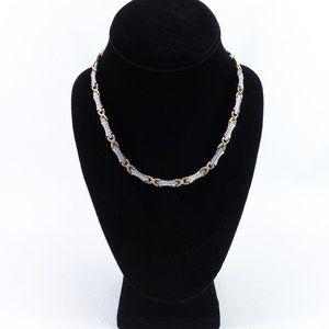 10k Two-Tone Diamond Cut Gold Necklace